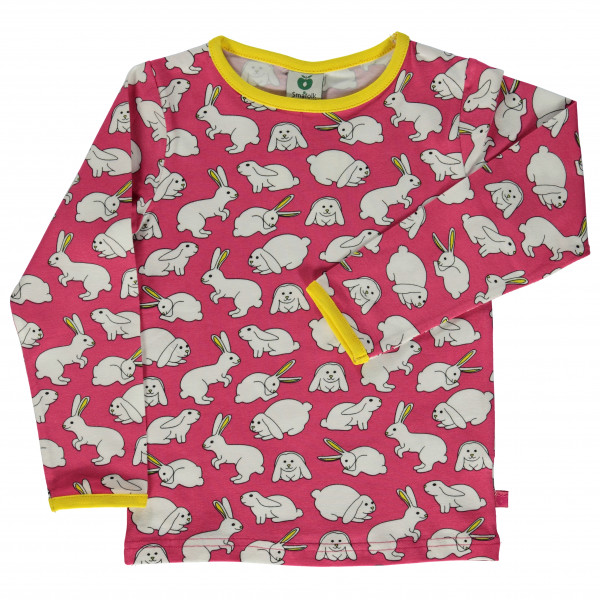 *Smafolk – Kid's T-Shirt with Rabbits – Longsleeve Gr 2-3 Years rosa/grau*