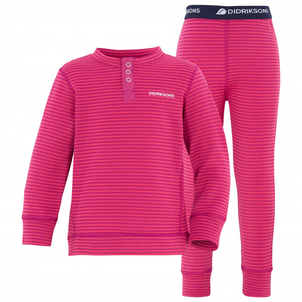 Didriksons - Kids Moarri Set - Synthetic Base Layer Size 130  Pink