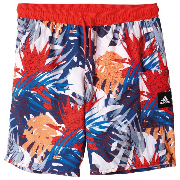 adidas Youth Boys Allover Short Mid Length Boardshort maat 176 rood-grijs-blauw