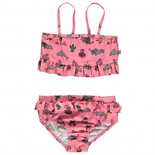 Smafolk - Kid's UV50 Bikini with Ruffles and Seaworld - Bikini Gr 3-4 Years rosa/rot 01-9920526