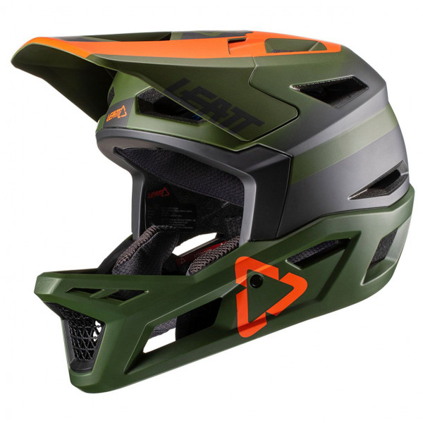 Leatt - Helmet DBX 4.0 Super Ventilated Full Face Helmet - Casco de ciclismo size M, negro/oliva/gris